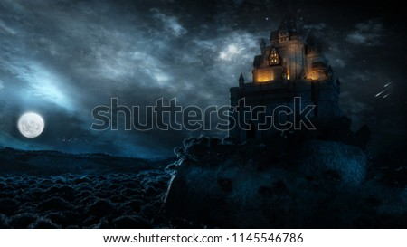 3D rendering of an epic castle scenery with full moon in majestic night sky and highly detailed natural environment landscape.