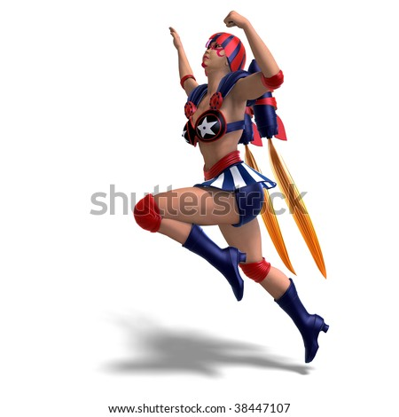 3D rendering of an female comic hero in an red, blue, white outfit with clipping path and shadow over white