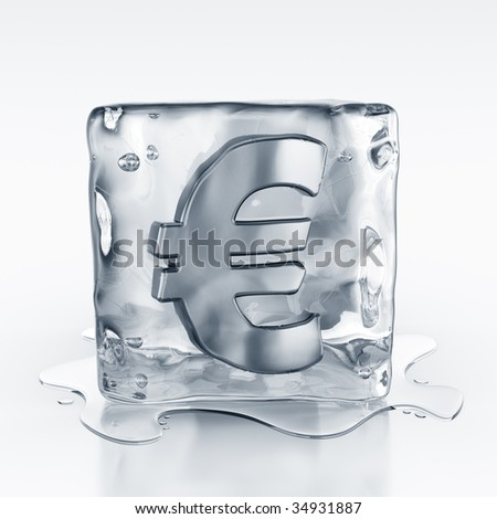 3d rendering of an icecube with a euro symbol inside