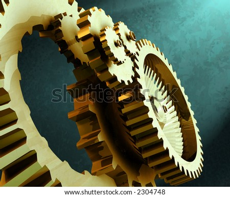 3D rendering of an industrial mechanism made up from gears