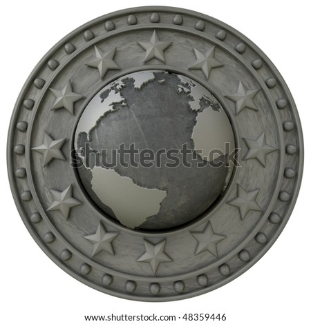 3D rendering of an insignia with the world surrounded by a metallic shield with stars