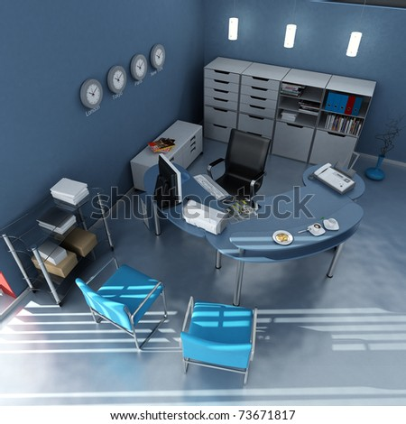 3D rendering of an office interior in blue and gray shades - stock photo