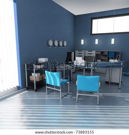 3D rendering of an office interior in blue and gray shades