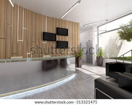 3d rendering of an office recepcion interior design