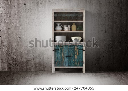 3d rendering of an old wooden cupboard on a dirty room