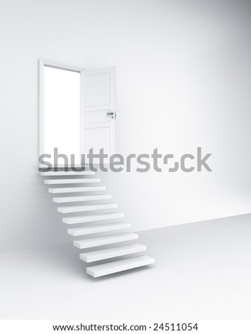 3d rendering of an open door with stairs