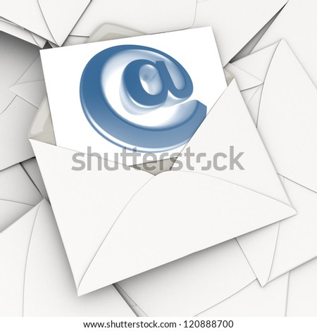 3D rendering of an open envelope and a card with the at symbol on top of a stack of scattered correspondence