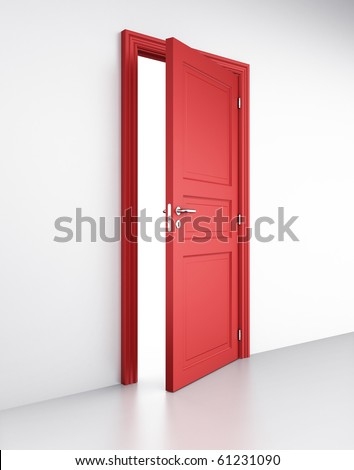 3d rendering of an open red door in a white wall