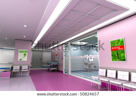 3D rendering of an upscale modern clinic in purple tones