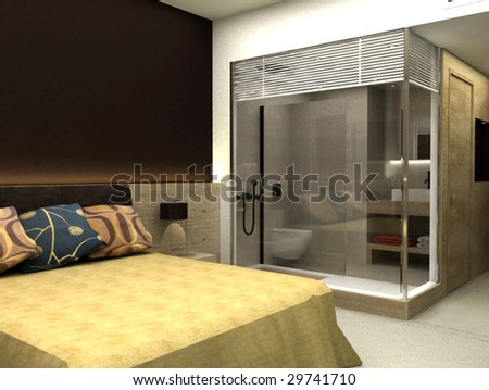 3D rendering of bedroom or hotel room - stock photo