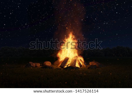 3d rendering of big bonfire with sparks and particles in front of forest and starry sky