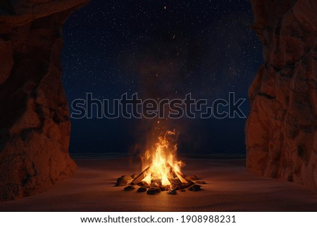 3d rendering of big bonfire with sparks and particles in front of sea and cave Сток-фото ©