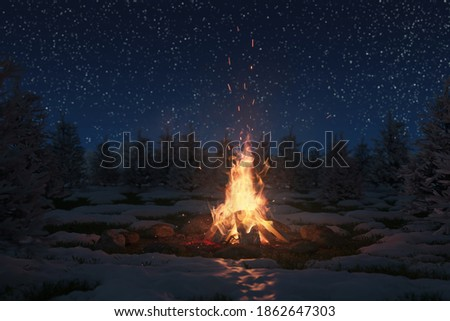 3d rendering of big bonfire with sparks and particles in front of snowy pine trees and starry sky Сток-фото ©