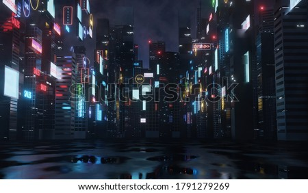 3D Rendering of billboards and advertisement signs at modern buildings in capital city with light reflection from puddles on street. Concept for night life, never sleep business district center (CBD)