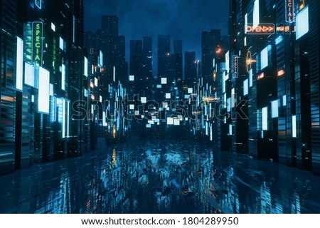 3D Rendering of billboards and advertisement signs at modern buildings in capital city with light reflection from puddles on street. Concept for night life, never sleep business district center (CBD) stock photo