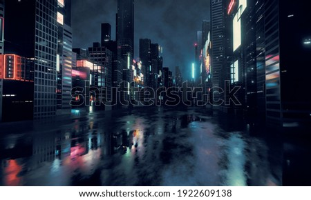 3D Rendering of billboards and advertisement signs at modern buildings in capital city with light reflection from puddles on street. Concept for night life, never sleep business district center (CBD) Foto stock ©