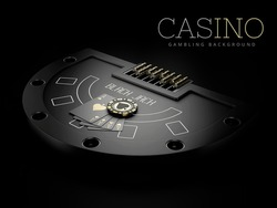 3d Rendering of Black Jack table with a play carts and chip, clipping path included