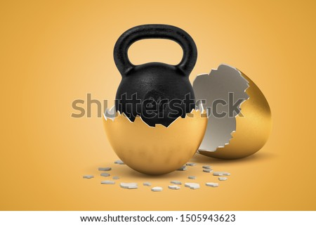 3d rendering of black 24 kg kettlebell that just hatched out from golden egg. Weightlifting. Keeping fit. Building up muscle.