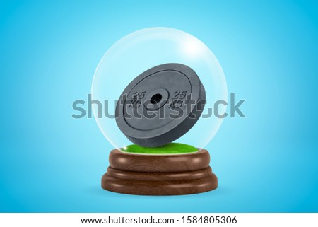 3d rendering of black 25 kg weight plate inside glass ball globe on light blue background. Weightlifting equipment. Keeping fit. Promoting healthy lifestyle.