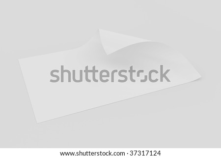 3d rendering of blank paper with page curl on a white background
