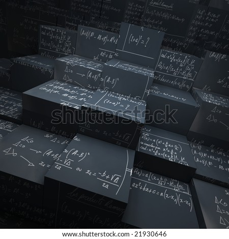 3D rendering of blocks made of blackboard with mathematical formulae written in chalk