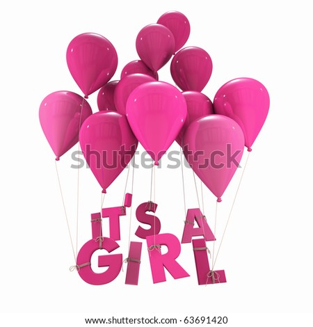 3D rendering of blue balloons with it?s a girl hanging from the strings