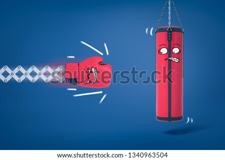 3d rendering of boxing glove about to hit punching bag, both with funny cartoon faces. Take up dangerous sport. Knock down adversaries. Beginners make mistakes.