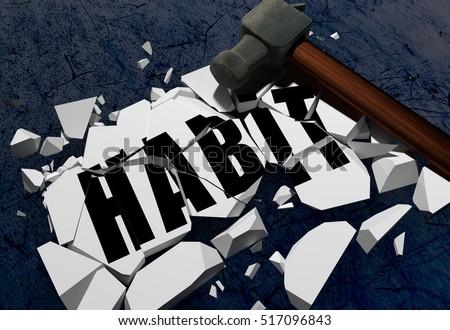 3D rendering of Breaking habit symbol