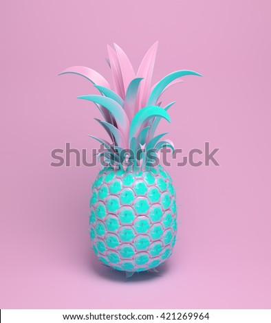 3d rendering of bright tiki style pineapple. Summer fun background. Trendy poster with vivid colors, pastel pink.