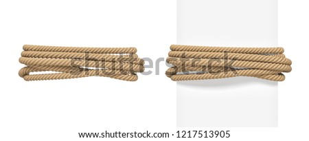 3d rendering of brown rope bound around a wide white post and around empty space. Tight rope. Keeping together. Holding material.