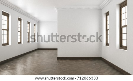 Shutterstock 3d rendering of Building Interior with Chevron Parquet and Single Hung Windows