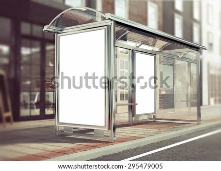 3d rendering of bus stop mockup