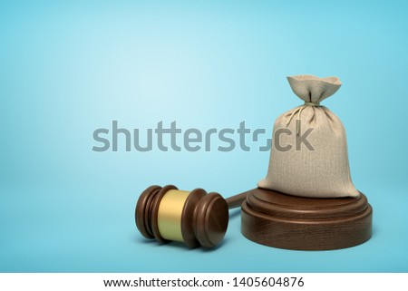 3d rendering of canvas money bag standing on sounding block with gavel beside on light-blue background with copy space. Make court claim for money. Win payout. Owe big sum of money.