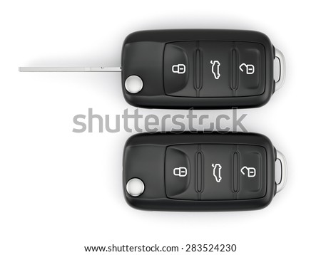 3d rendering of car keys isolated on white background