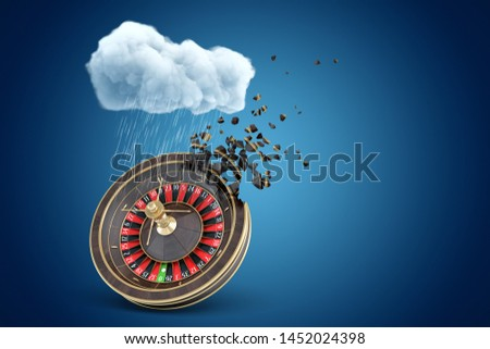 3d rendering of casino wheel dissolving in pieces under white raining cloud on blue copyspace background. Casino betting. Gambling business. Losing money.