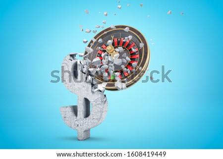 3d rendering of casino wheel hitting and breaking grunge stone dollar symbol on light blue gradient background. Gambling addiction. Casino business. Losing money.