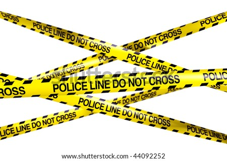 3d rendering of caution tape with POLICE LINE DO NOT CROSS written on it