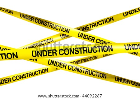 3d rendering of caution tape with UNDER CONSTRUCTION written on it