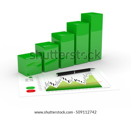 3d rendering of chart growth and pen isolated over white background