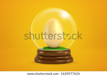 3d rendering of chicken egg inside snowglobe on amber background. Food industry. Natural products. Healthy eating habits.