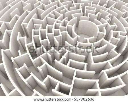 3d rendering of circular maze
