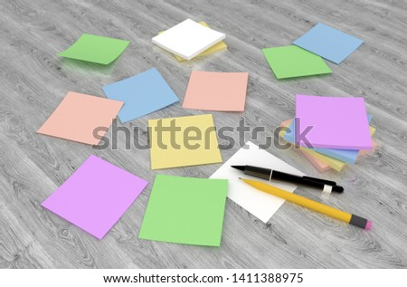 3D rendering of color adhesive notes on the gray wooden table #1411388975