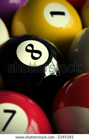 3D rendering of colorful pool balls (shallow DOF - focus on the 8 ball)