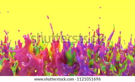 3d rendering of colorful splash. Many colors diffuse in one liquid drop. Abstract paint explosion on yellow background. Glossy oily fluid with rainbow stains. Mixed different pigments.