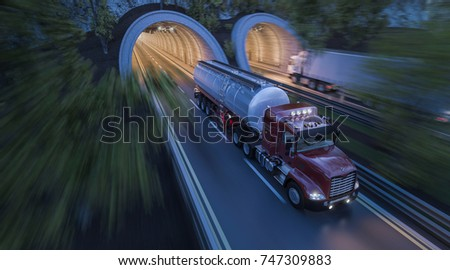3d rendering of Commercial Trucks Moving through Side by Side Tunnels