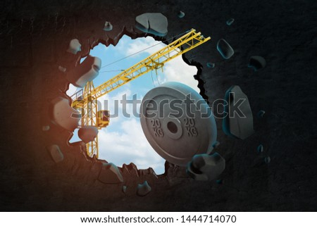 3d rendering of construction crane and 20 kg weight plate breaking black wall. Sporting goods. Objects and materials. Building and construction.