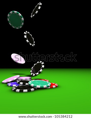 3d rendering of coulored casino chips falling on a green table. Great background for magazines, banners, webpages, flyers, etc.