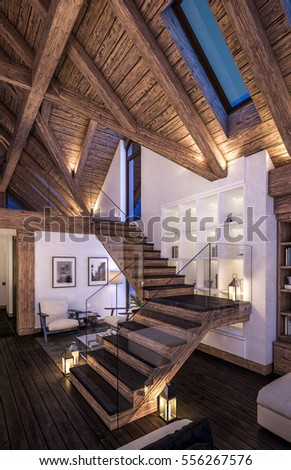 3D rendering of cozy living room on cold winter night in the mountains, evening interior of chalet decorated with candles, fireplace fills the room with warmth. #556267576