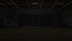 3d rendering of dark empty factory interior or empty warehouse