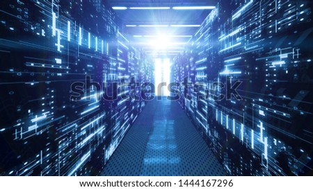 3D Rendering of data center room with abstract data servers and glowing led indicators, abstract network and ceiling lights. For Big data, machine learning, artificial intelligence concept background.